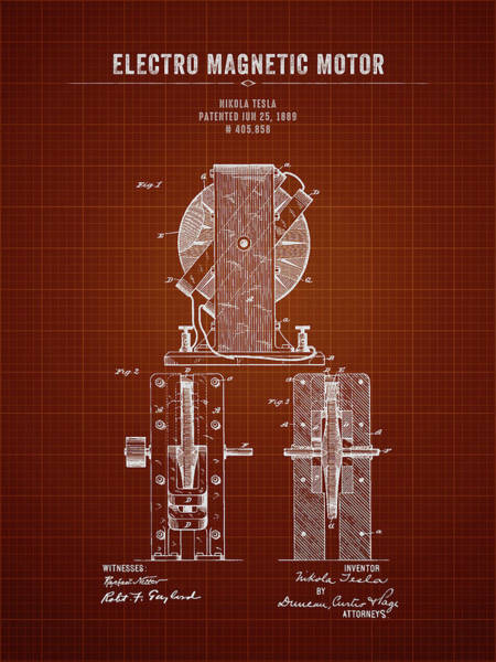 Wall Art - Digital Art - 1889 Nikola Tesla Electro Magnetic Motor - Dark Red Blueprint by Aged Pixel