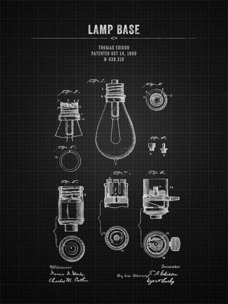 Wall Art - Digital Art - 1890 Thomas Edison Lamp Base - Black Blueprint by Aged Pixel