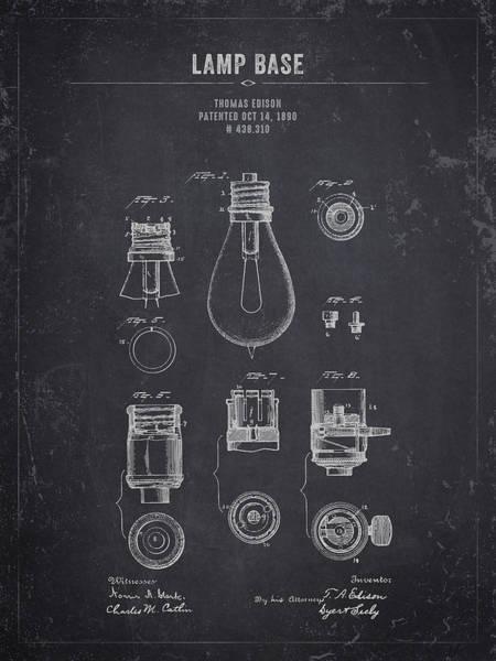 Wall Art - Digital Art - 1890 Thomas Edison Lamp Base - Dark Charcoal Grunge by Aged Pixel