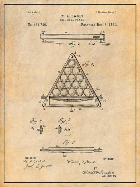 Wall Art - Drawing - 1891 Billiard Ball Rack Patent Print Antique Paper by Greg Edwards