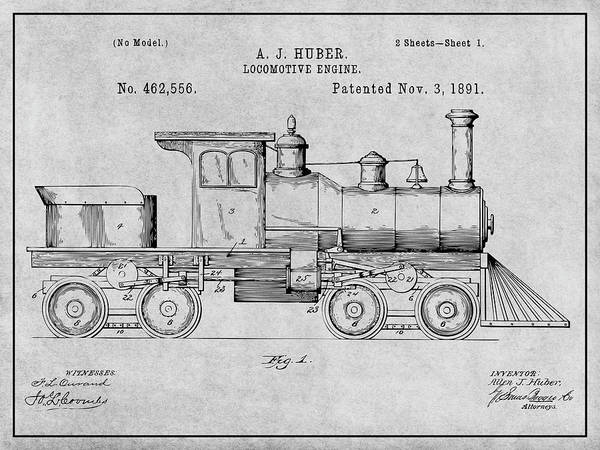 Wall Art - Drawing - 1891 Huber Locomotive Engine Gray Patent Print by Greg Edwards