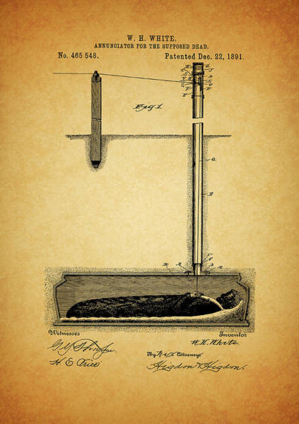 Haunted House Drawing - 1891 Safety Coffin by Dan Sproul