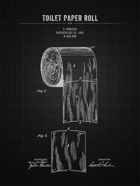 Toilet Paper Patent Wall Art - Digital Art - 1891 Toilet Paper Roll - Black Blueprint by Aged Pixel