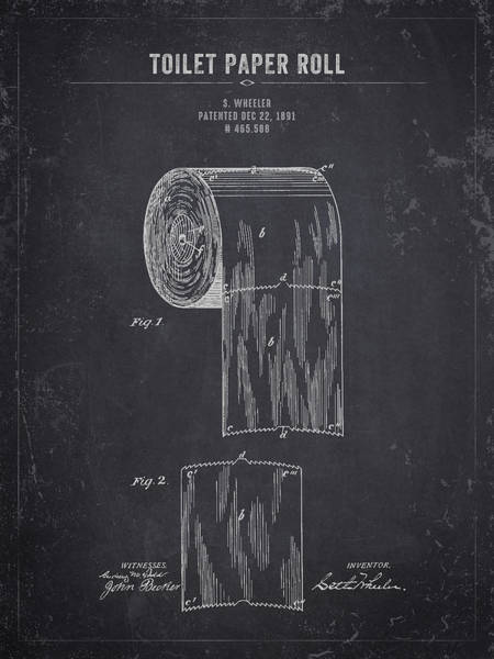 Toilet Paper Patent Wall Art - Digital Art - 1891 Toilet Paper Roll - Dark Charcoal Grunge by Aged Pixel