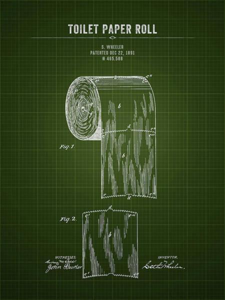 Wall Art - Digital Art - 1891 Toilet Paper Roll - Dark Green Blueprint by Aged Pixel