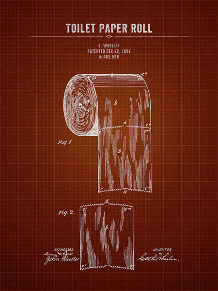 Toilet Paper Patent Wall Art - Digital Art - 1891 Toilet Paper Roll - Dark Red Blueprint by Aged Pixel