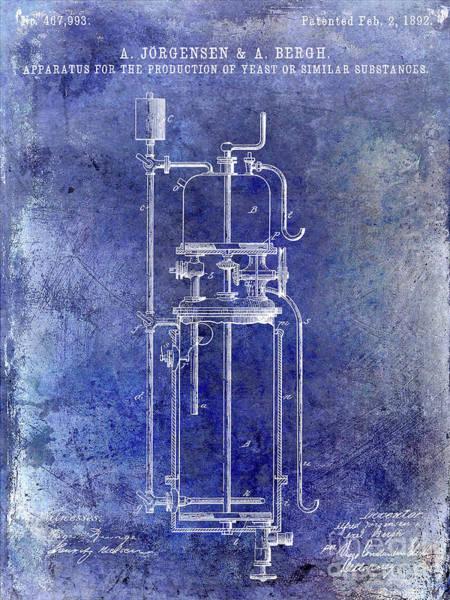 Wall Art - Photograph - 1892 Beer Yeast Patent Blue by Jon Neidert