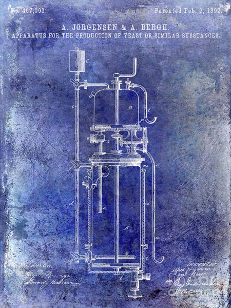 Wall Art - Photograph - 1892 Beer Yeast Production Patent Blue by Jon Neidert