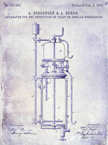 Wall Art - Photograph - 1892 Beer Yeast Production Patent   Blueprint by Jon Neidert