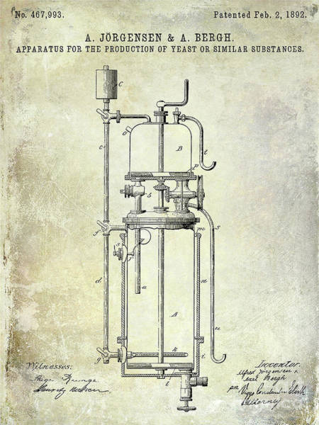 Wall Art - Photograph - 1892 Beer Yeast Production Patent   by Jon Neidert