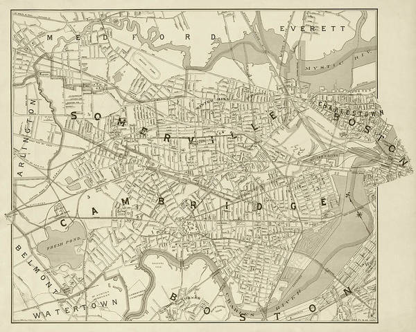 Photograph - 1892 Map Of Somerville Cambridge Boston Medford Everett Charleston Ma Massachusetts Sepia by Toby McGuire