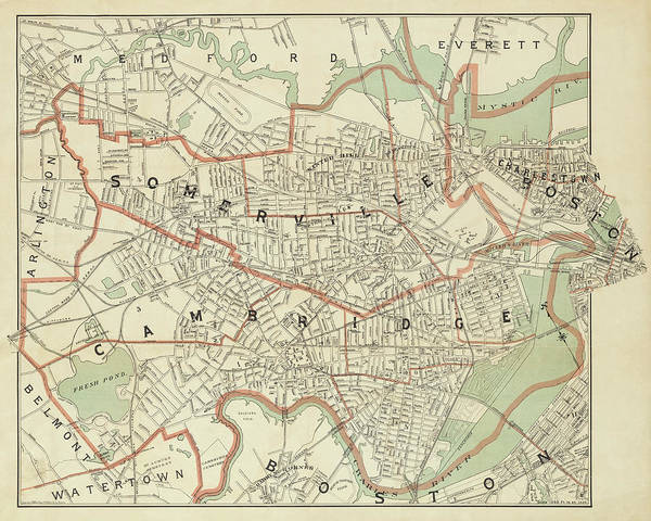 Photograph - 1892 Map Of Somerville Cambridge Boston Medford Everett Charleston Ma Massachusetts by Toby McGuire