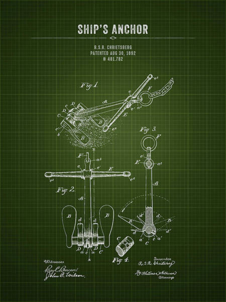 Wall Art - Digital Art - 1892 Ships Anchor - Dark Green Blueprint by Aged Pixel