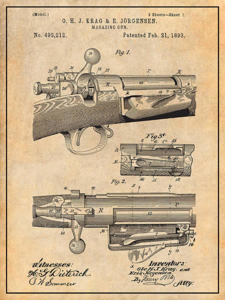 Wall Art - Drawing - 1892 Springfield Model Krag Jorgensen Rifle Patent Print Antique Paper by Greg Edwards