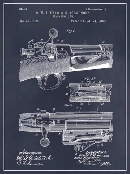 Wall Art - Drawing - 1892 Springfield Model Krag Jorgensen Rifle Patent Print Blackboard by Greg Edwards