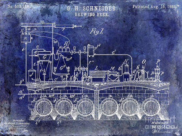 Wall Art - Photograph - 1893 Beer Brewing Patent Blue by Jon Neidert