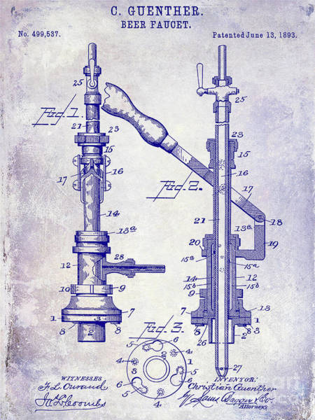 Wall Art - Photograph - 1893 Beer Faucet Patent Blueprint by Jon Neidert