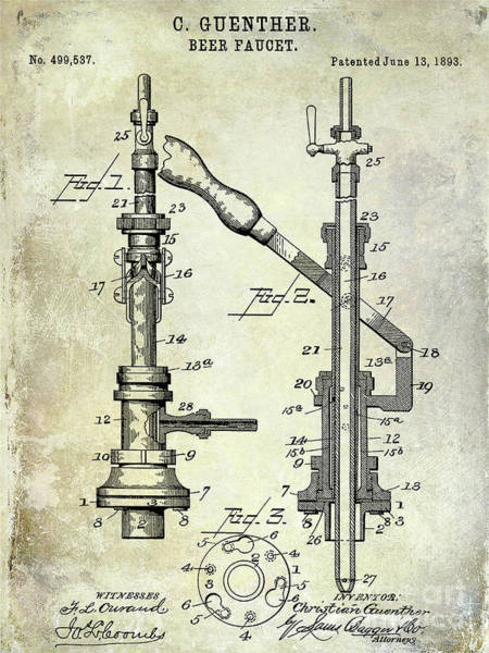 Wall Art - Photograph - 1893 Beer Faucet Patent by Jon Neidert