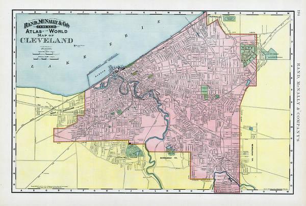 Ohio Digital Art - 1893, Cleveland, Ohio, World Atlas by Historic Map Works Llc