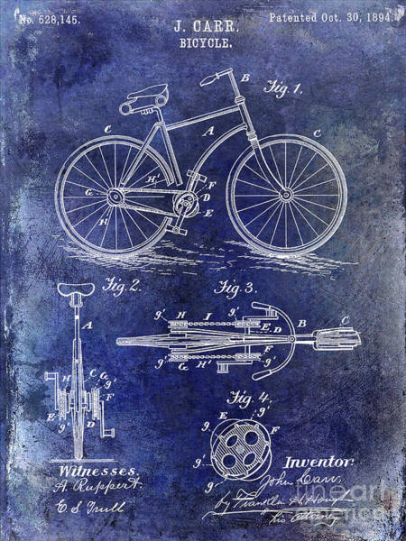 Wall Art - Photograph - 1894 Bicycle Patent Blue by Jon Neidert