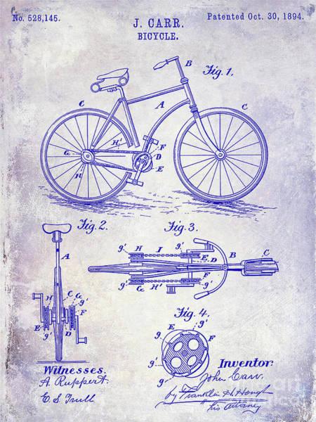 Wall Art - Photograph - 1894 Bicycle Patent Blueprint by Jon Neidert