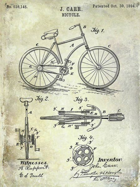 Wall Art - Photograph - 1894 Bicycle Patent by Jon Neidert