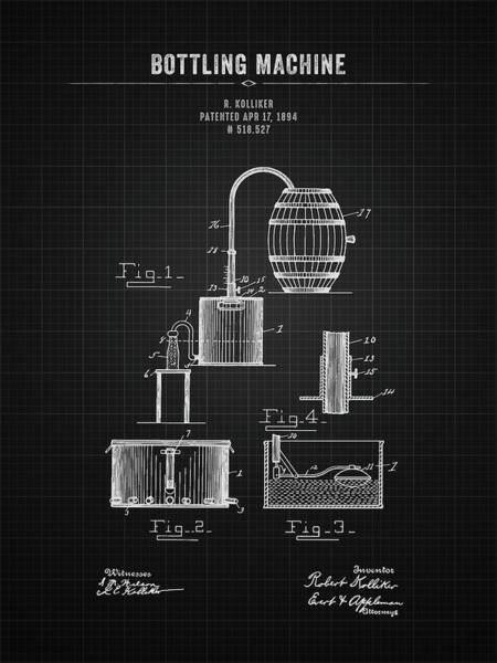 Wall Art - Digital Art - 1894 Bottling Machine - Black Blueprint by Aged Pixel