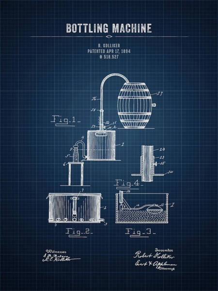 Wall Art - Digital Art - 1894 Bottling Machine - Dark Blue Blueprint by Aged Pixel