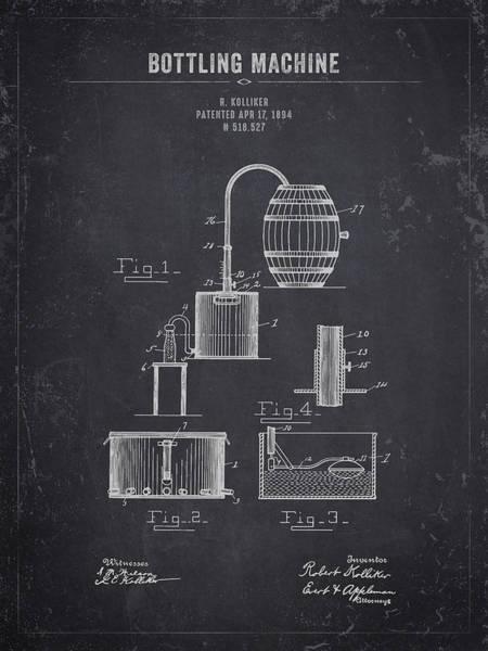 Wall Art - Digital Art - 1894 Bottling Machine - Dark Charcoal Grunge by Aged Pixel