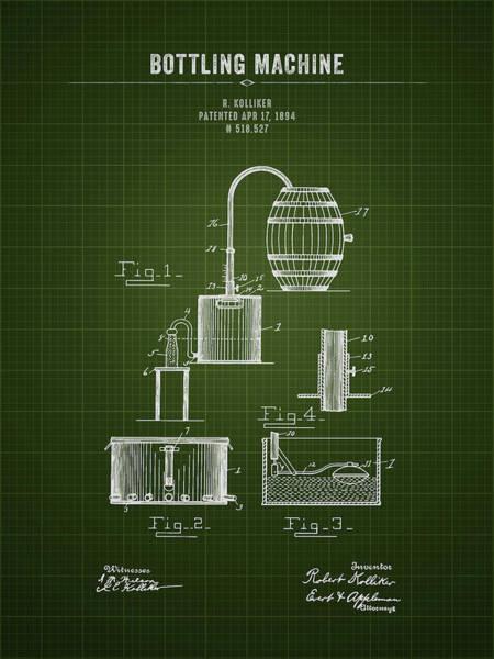 Wall Art - Digital Art - 1894 Bottling Machine - Dark Green Blueprint by Aged Pixel