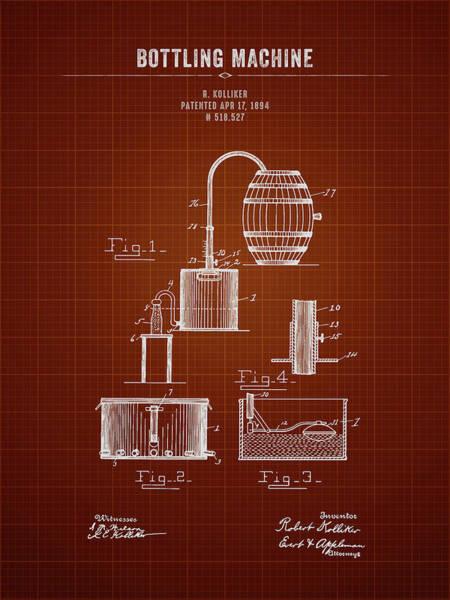 Wall Art - Digital Art - 1894 Bottling Machine - Dark Red Blueprint by Aged Pixel