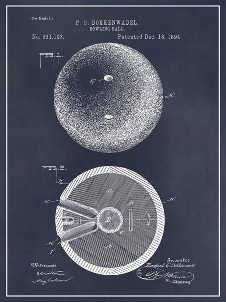 bowling alley drawing - 1894 bowling ball patent print blackboard by greg  edwards