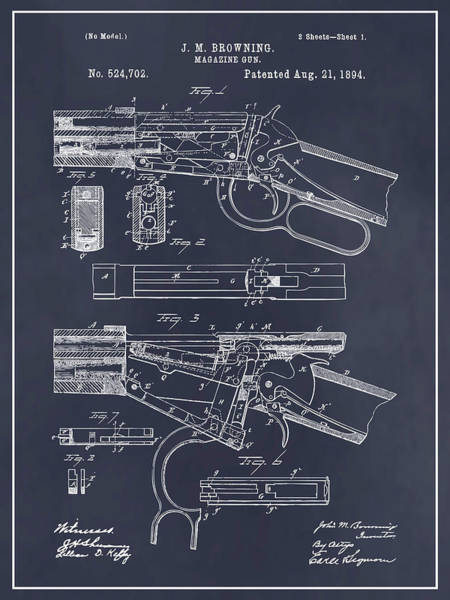 Wall Art - Drawing - 1894 Winchester Lever Action Rifle Blackboard Patent Print by Greg Edwards