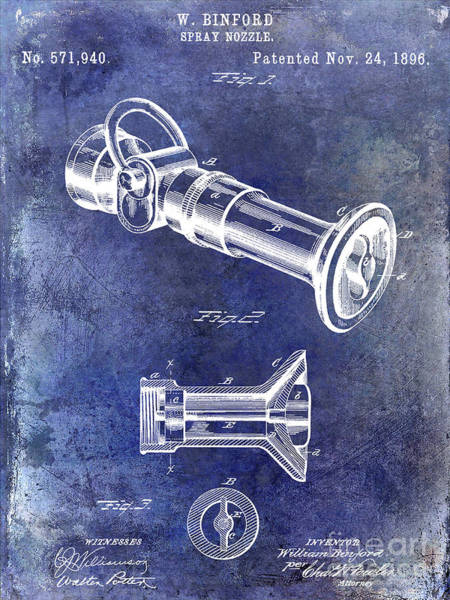 Wall Art - Photograph - 1896 Fire Hose Spray Nozzle Patent Blue by Jon Neidert