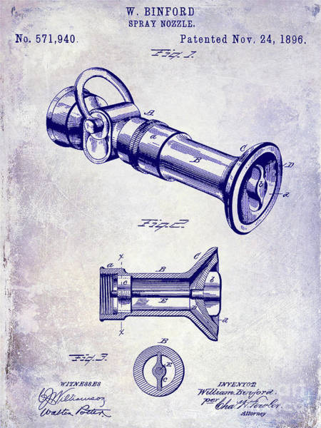 Wall Art - Photograph - 1896 Fire Hose Spray Nozzle Patent Blueprint by Jon Neidert
