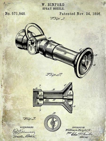 Wall Art - Photograph - 1896 Fire Hose Spray Nozzle Patent  by Jon Neidert