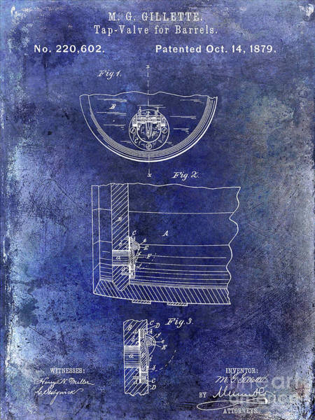 Wall Art - Photograph - 1897 Beer Barrel Tap Valve Patent Blue by Jon Neidert