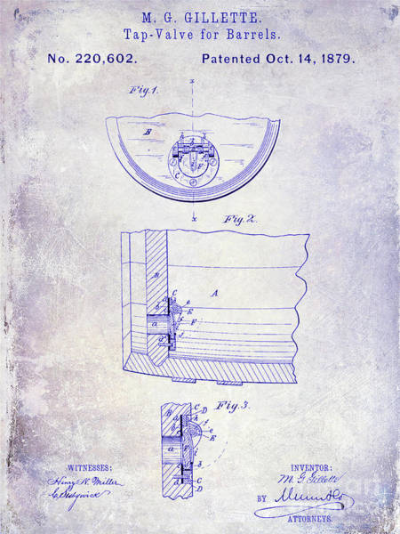 Wall Art - Photograph - 1897 Beer Barrel Tap Valve Patent Blueprint by Jon Neidert