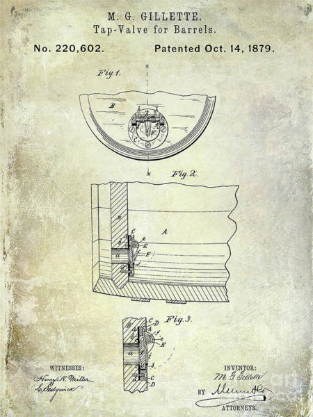 Wall Art - Photograph - 1897 Beer Barrel Tap Valve Patent  by Jon Neidert
