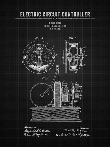 Wall Art - Digital Art - 1898 Nikola Tesla Electric Circuit Controller - Black Blueprint by Aged Pixel