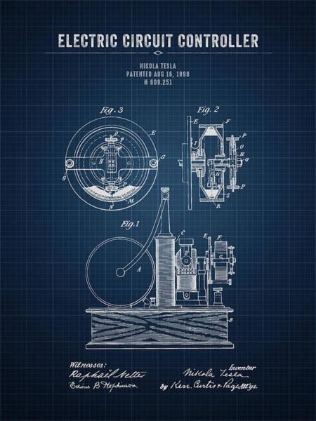 Wall Art - Digital Art - 1898 Nikola Tesla Electric Circuit Controller - Dark Blueprint by Aged Pixel
