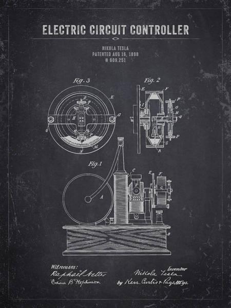 Wall Art - Digital Art - 1898 Nikola Tesla Electric Circuit Controller - Dark Charcoal Gr by Aged Pixel