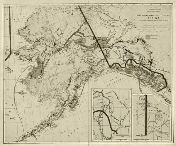 Digital Art - 1898 The Gold And Coal Fields Of Alaska Map Sepia by Toby McGuire