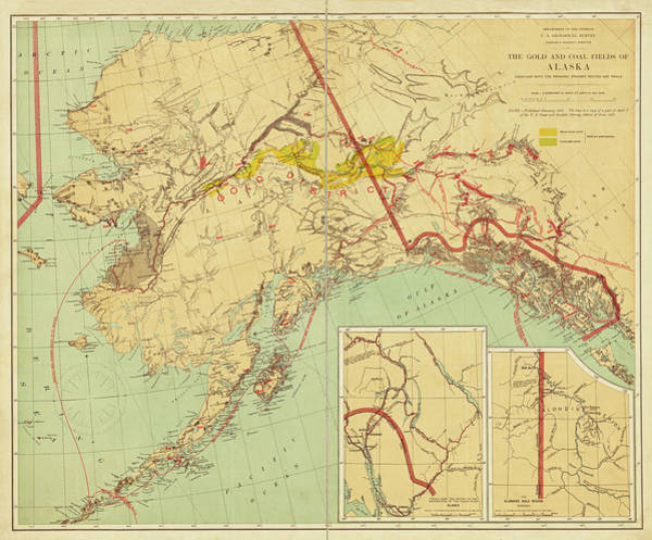 Digital Art - 1898 The Gold And Coal Fields Of Alaska Map by Toby McGuire