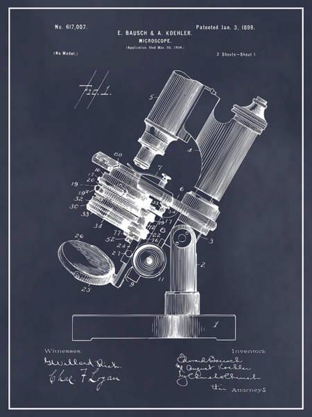 Wall Art - Drawing - 1899 Bausch Microscope Blackboard Patent Print by Greg Edwards