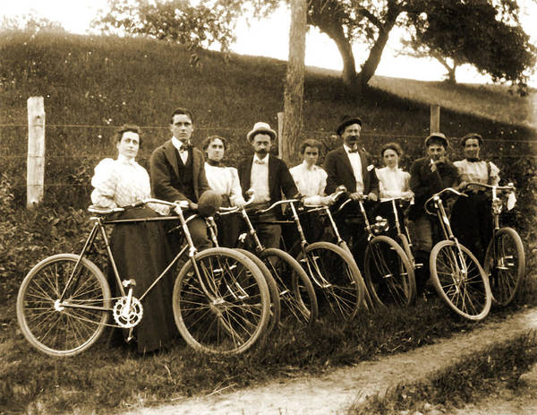 Cycling Helmet Painting - 1899 Group With Bicycles  Connecticut by Celestial Images