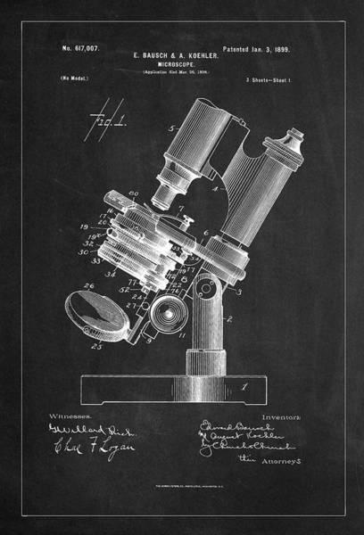 Digital Art - 1899 Microscope Patent Drawing Charcoal by Carlos Diaz