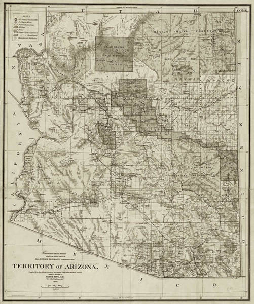 Photograph - 1899 Territory Of Arizona Map Historical Map Sepia by Toby McGuire