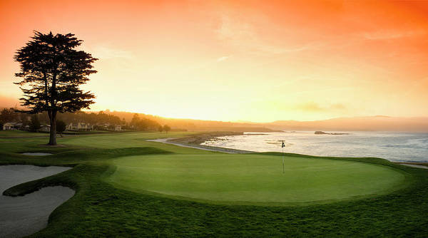 Pebble Beach Golf Course Photograph - 18th Hole With Iconic Cypress Tree by Panoramic Images