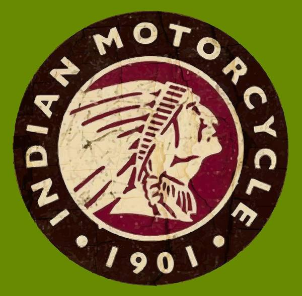 Wall Art - Digital Art - 1901 Indian Motorcycle Logo - T-shirt by Daniel Hagerman
